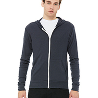BELLA + CANVAS- 3939 Unisex Triblend Full-Zip Lightweight Hoodie