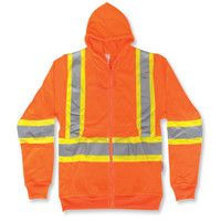Orange 100% Polyester Zip up Hoodie