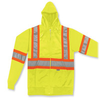 Lime Green 100% Polyester Zip Up Hoodie